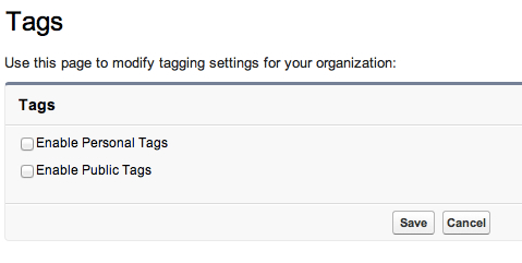 Enable Tags in Setup