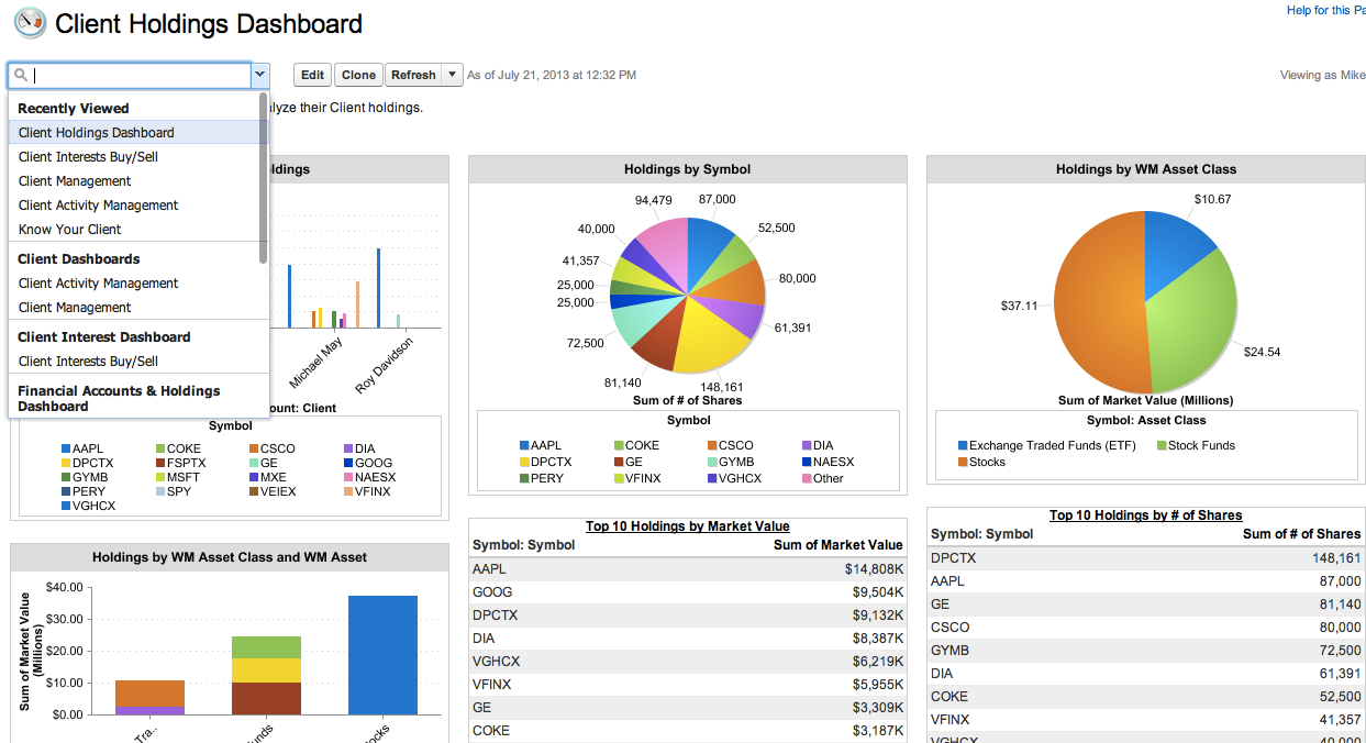 Example Dashboard in Wealth Management App