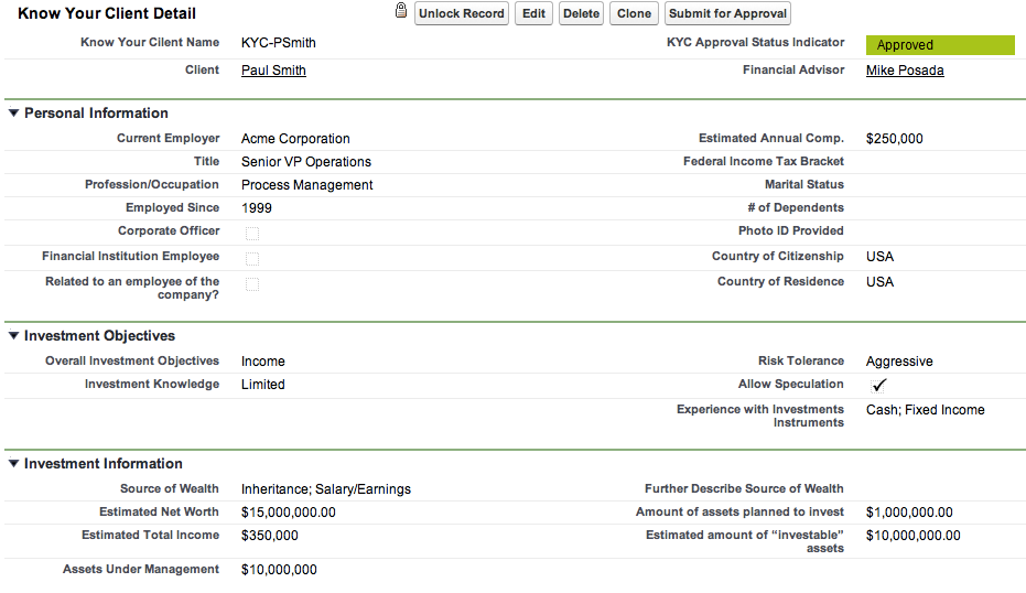 Example Know Your Client Salesforce Wealth Management
