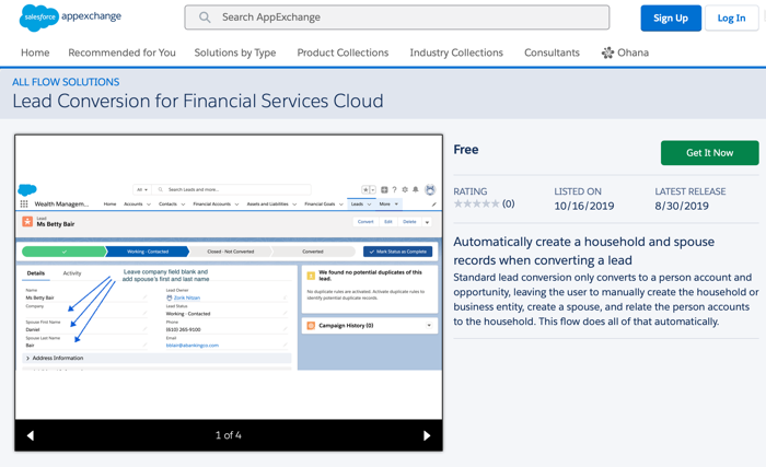 Lead Conversion for Financial Services Cloud from Salesforce Labs